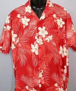 Mens Classic Hawaiian Shirt Large Red White